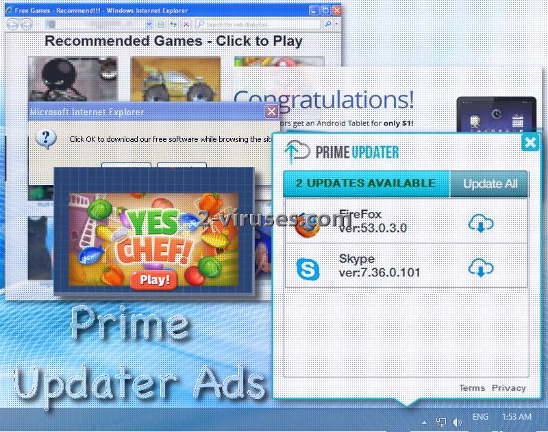 Prime Updater virus ads
