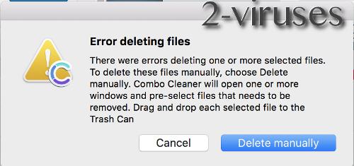 Combo Cleaner Error Deleting files